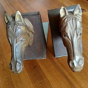 "Hand Carved Horse Book Ends 20 x 6"" *Slight defect"